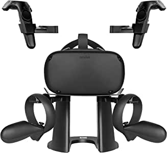 KIWI design VR Stand, Headset Display Holder and Controller Holder Mount Station for Oculus Quest/Rift/Rift S/GO/HTC Vive/Vive Pro/Valve Index VR Headset and Touch Controllers