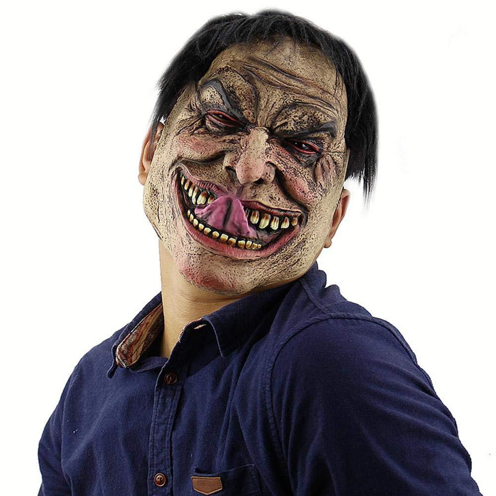 Circlefly Parrucca di Halloween diverdeente uomo infelice maschera orrore pagliaccio lattice maschera mascherina adulto diverdeente