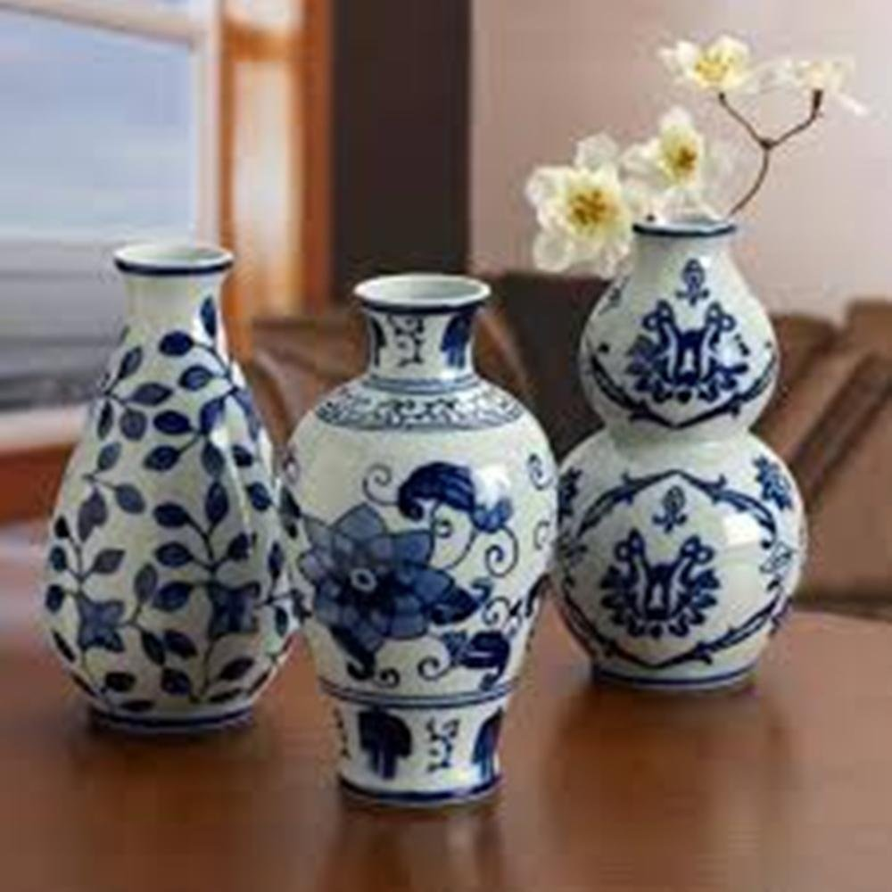 The Bombay Company Set of 3 Floral Ceramic Blue & White Vases by Bombay Company