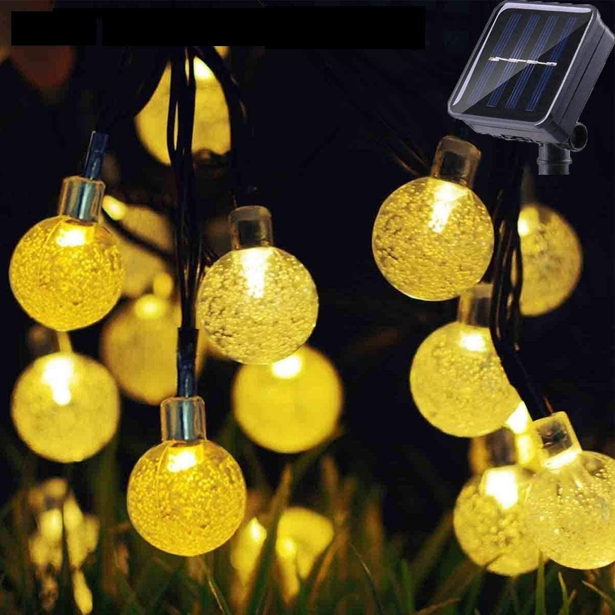 Outdoor Solar Bubble Light String 30LEDs 6.5M&21Ft Crystal Ball Fairy Lights Xmas Strands Waterproof with 8Modes for Patio, Meadow, Oak Tree, Lawn, Garden, Wedding, Party, Christmas Decor[Warm White]
