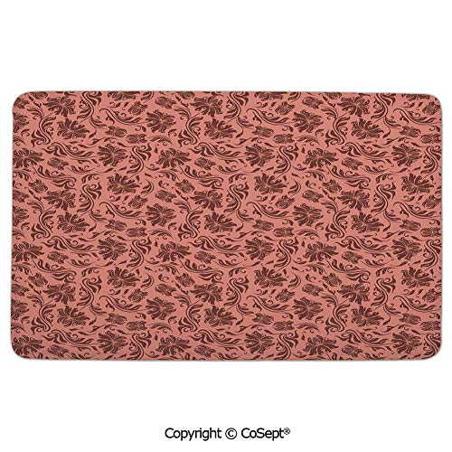 - Flannel Floor Mats,Floral Pattern with Abstract Leaves and Flowers Soft Pattern Old School Vintage Decorative,Comfortable Soft SurfaceCoral Chocolate