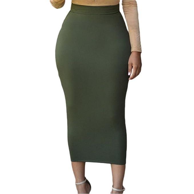 48dbab194 Mujer Faldas Mujeres Sexy Bodycon Falda Larga Negro Cintura Alta ...