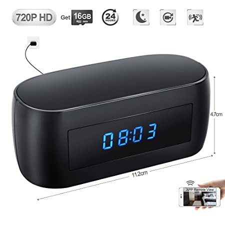 WISEUP 16GB 1280x720P HD Spy Camera WiFi Alarm Clock Motion Activated Home  Surveillance DVR Support Smartphone APP Remote View and Control