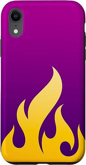 Amazon Com Iphone Xr Flames Yellow On Purple Fire Design Case