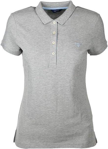 Gant - Polo para Mujer, diseño de Cuello de Contraste Gris S ...