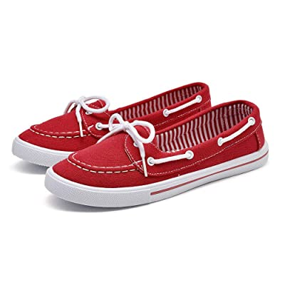 Woman Boat Shoes Canvas Slip On Flats. | Loafers & Slip-Ons