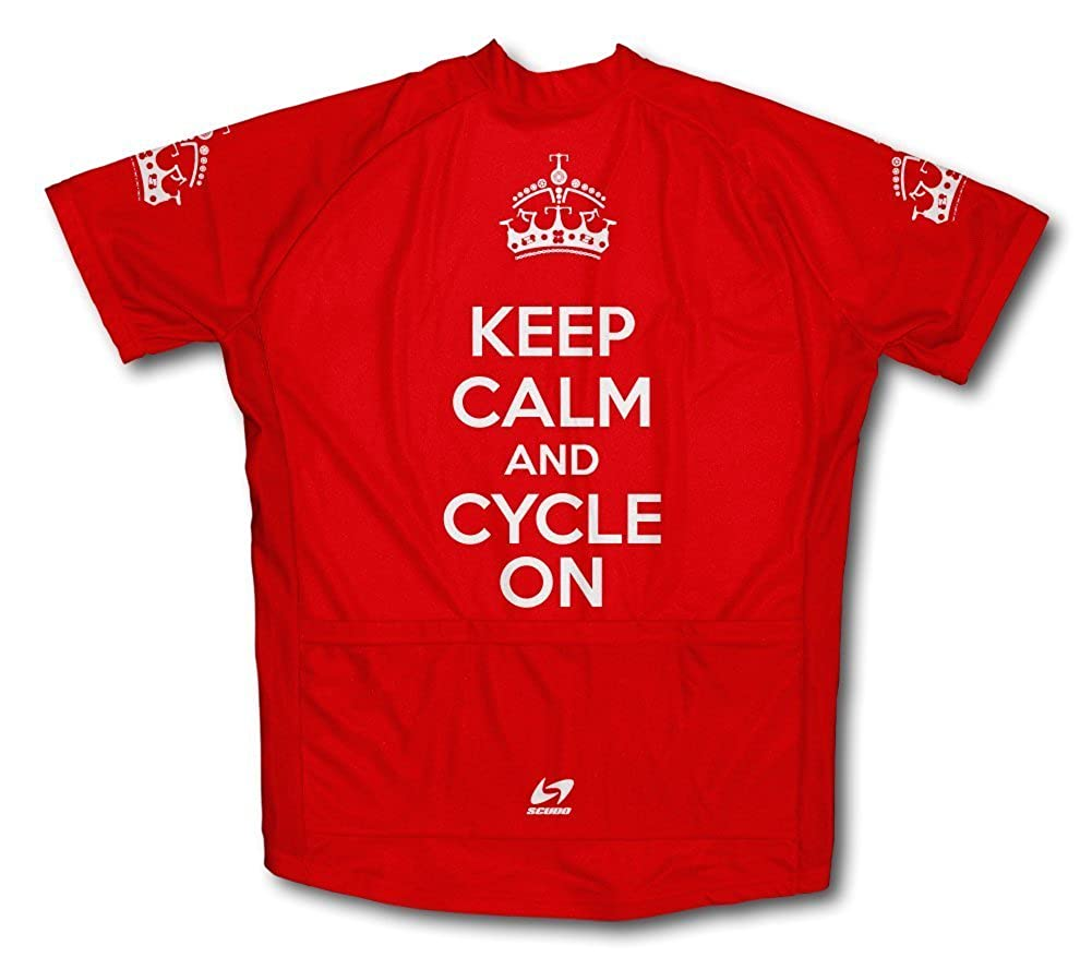 Scudo Keep Calm and Cycle On Microfiber Short-Sleeved Cycling Jersey