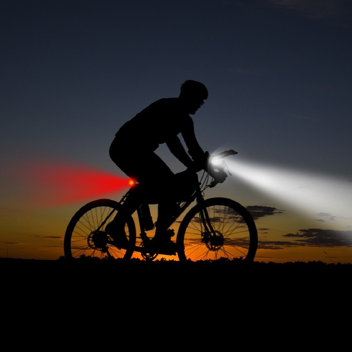 SOKLIT USB Rechargeable Bike Light Front and Rear Waterproof IPX4 Super Bright Bicycle LED Light Set 120 Lumen with 650mah Lithium Battery, 4 Light Mode Options, Including 6 Strap and 2 USB Cables by SOKLIT (Image #5)