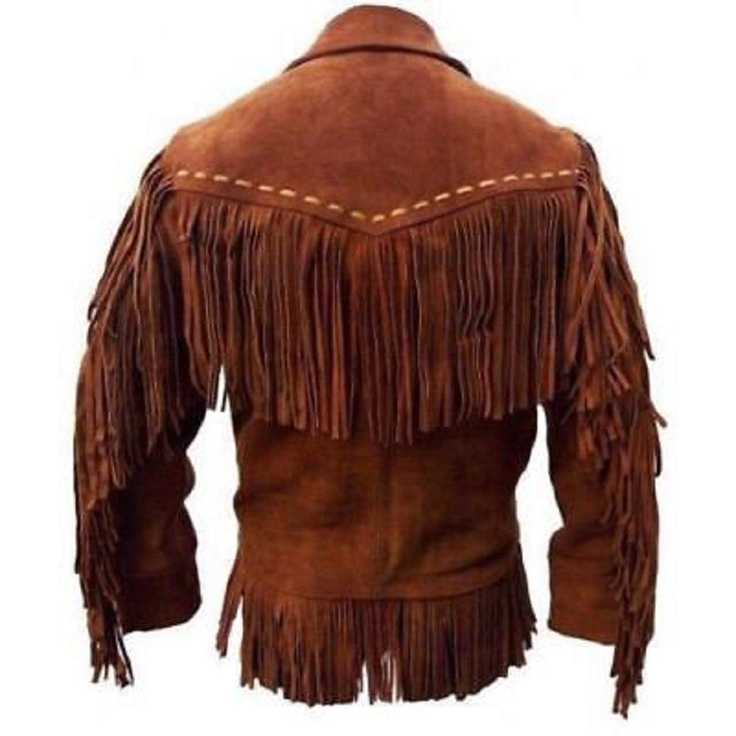 Native American Mens Western Cowboy Real Suede Leather ...