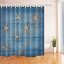 Starfish Decor Shower Curtains By KOTOM White Starfish on Net of Blue Wood Boards Bath Curtains, 69X70 Inches