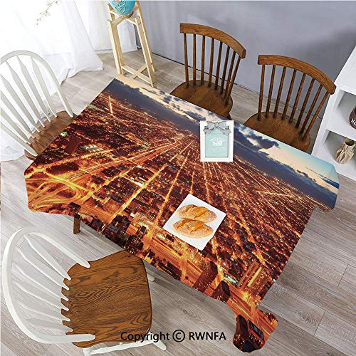 Rectangle Tablecloth Stain Resistant and Waterproof Chicago Downtown Skyline Aerial Panorama View at Dusk with Skyscrapers Dining Room Polyester Fabric Table Cloth, 55 x 70 inch Orange Dark Orange Bl Chicago Bears Pub Table