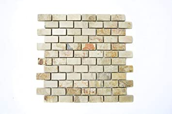 Mosaik Fliese Schiefer Naturstein Beige Rost Brick Indian Autumn Für BODEN  WAND BAD WC DUSCHE KÜCHE