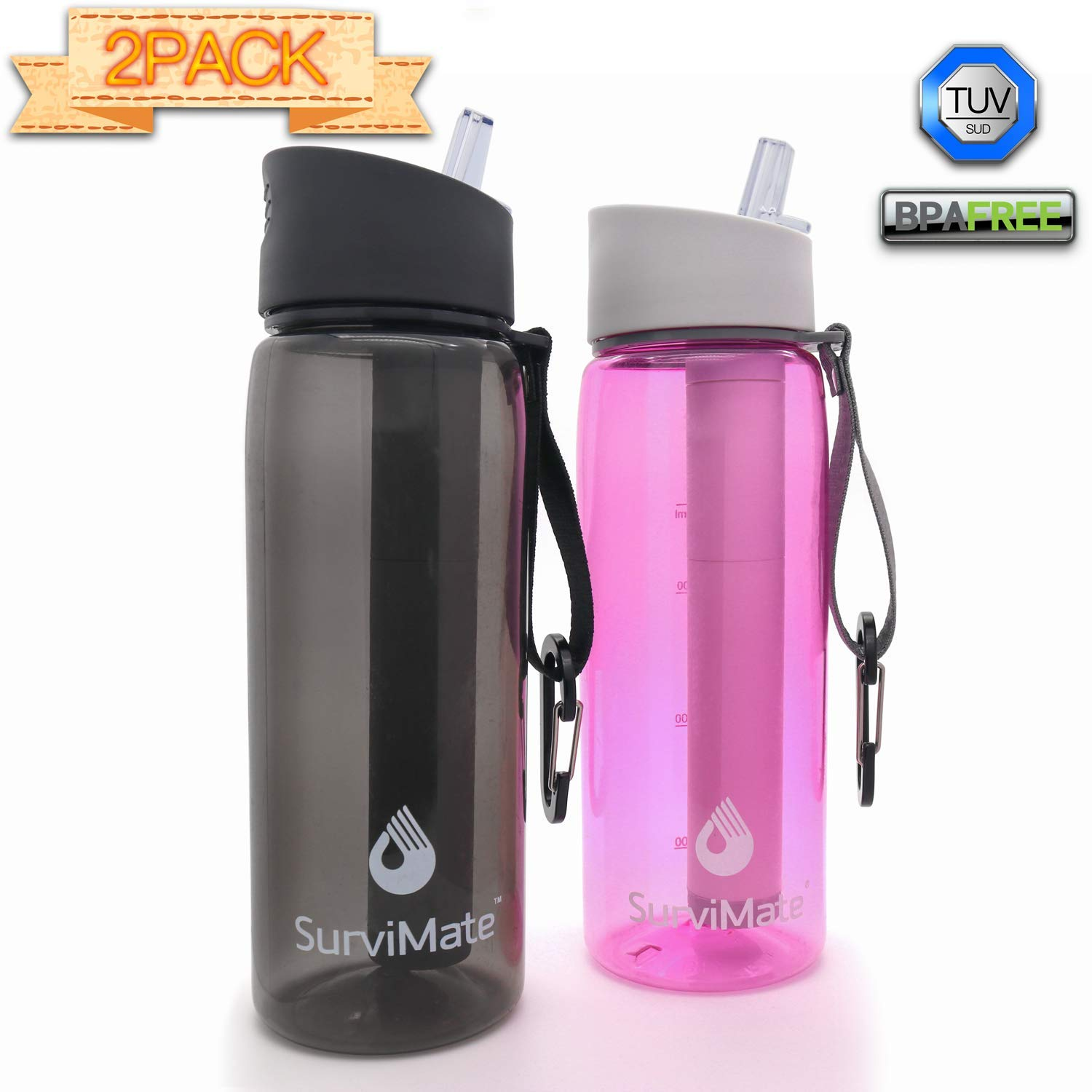 SurviMate Filtered Water Bottle for Camping, Hiking, Backpacking and Travel, BPA Free with 4-Stage Intergrated Filter Straw (Black-Pink) by SurviMate