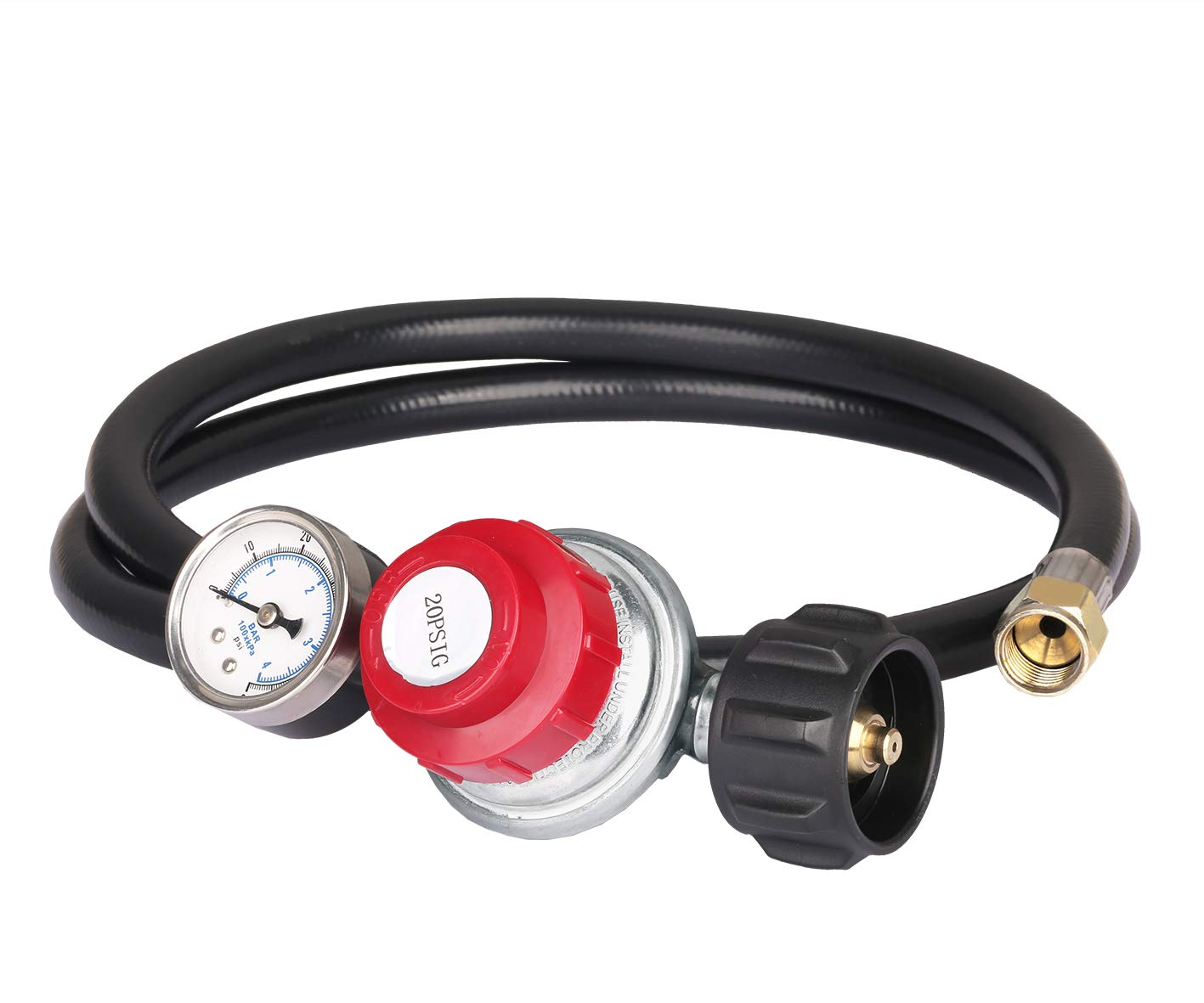 YPLF High Pressure Propane 0-20 PSI Adjustable Regulator with 4FT Hose-Type1 (QCC1) and 3/8'' Female Flare Swivel Fitting by YPLF