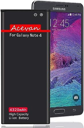 Acevan - Batería de Repuesto para Samsung Galaxy Note 4, N910, AT&T N910A, Verizon N910V, Sprint N910P, T-Mobile N910T, N910U LTE, N910F, Note4: Amazon.es: Electrónica