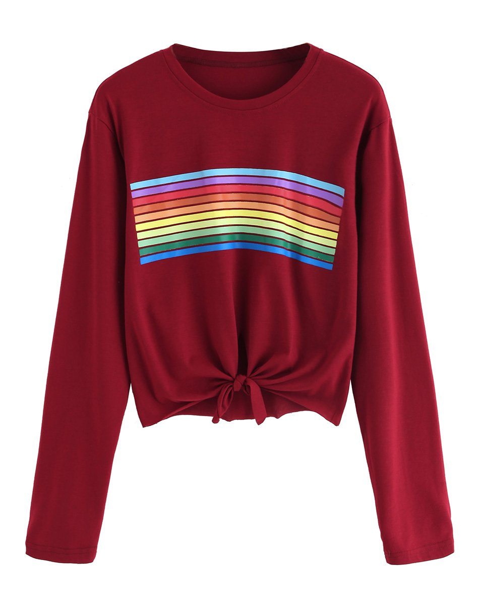 Romwe Women's Long Sleeve Rainbow Print Tie Knot Crop Tee Top T-Shirt Burgundy L