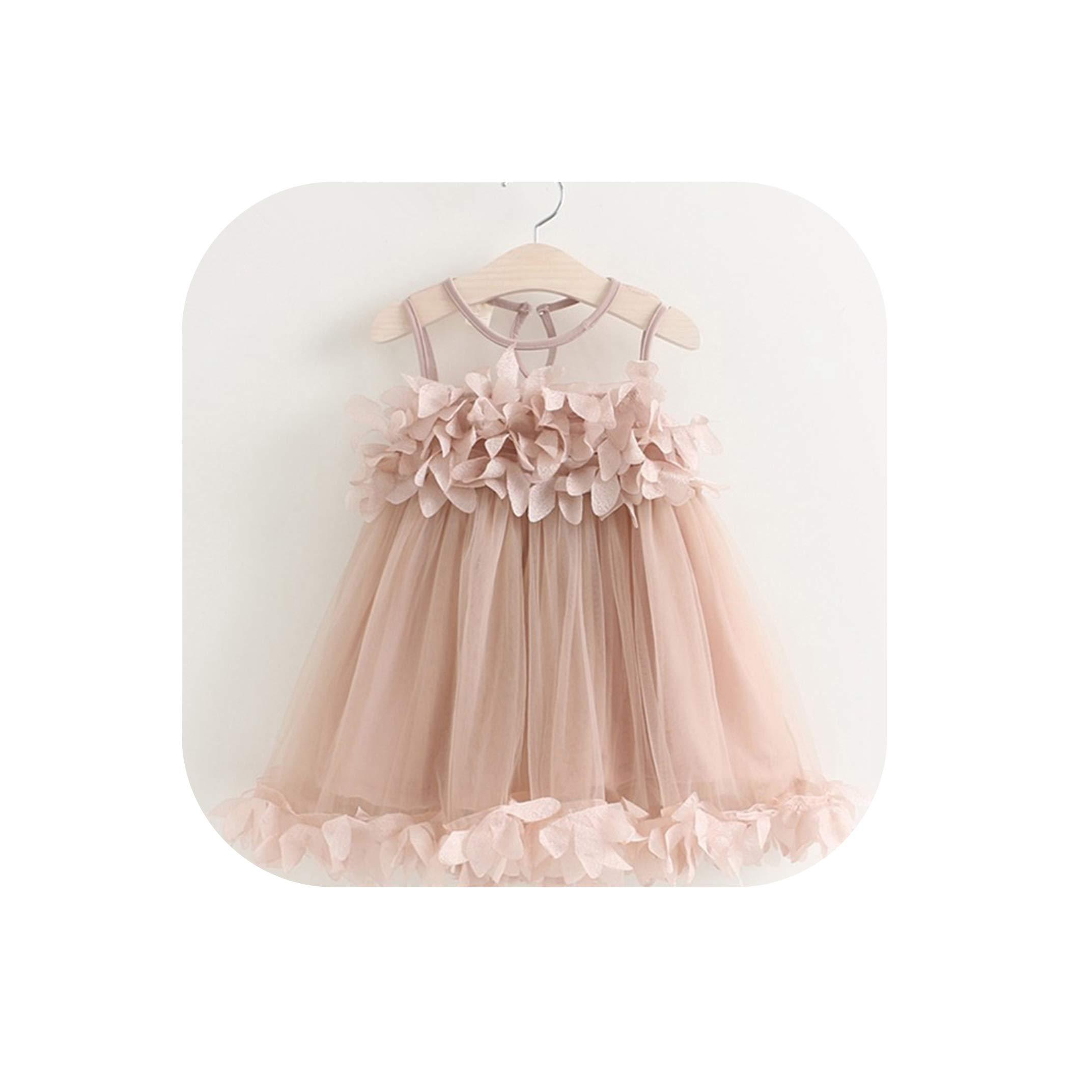 Baby Girl Dress Toddler Kids Party Dress Summer Childrens Clothing Girls Gauze Pink Applique Petal Dress,Pink,4T