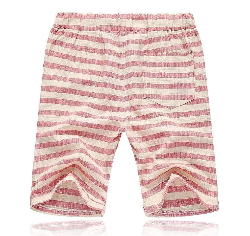 NestYu Mens Half Pants Summer Stylish Straight Elastic Waist Short Pants