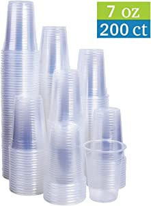 TashiBox 7 oz clear plastic cups - Disposable cold drink party cups (200 count)