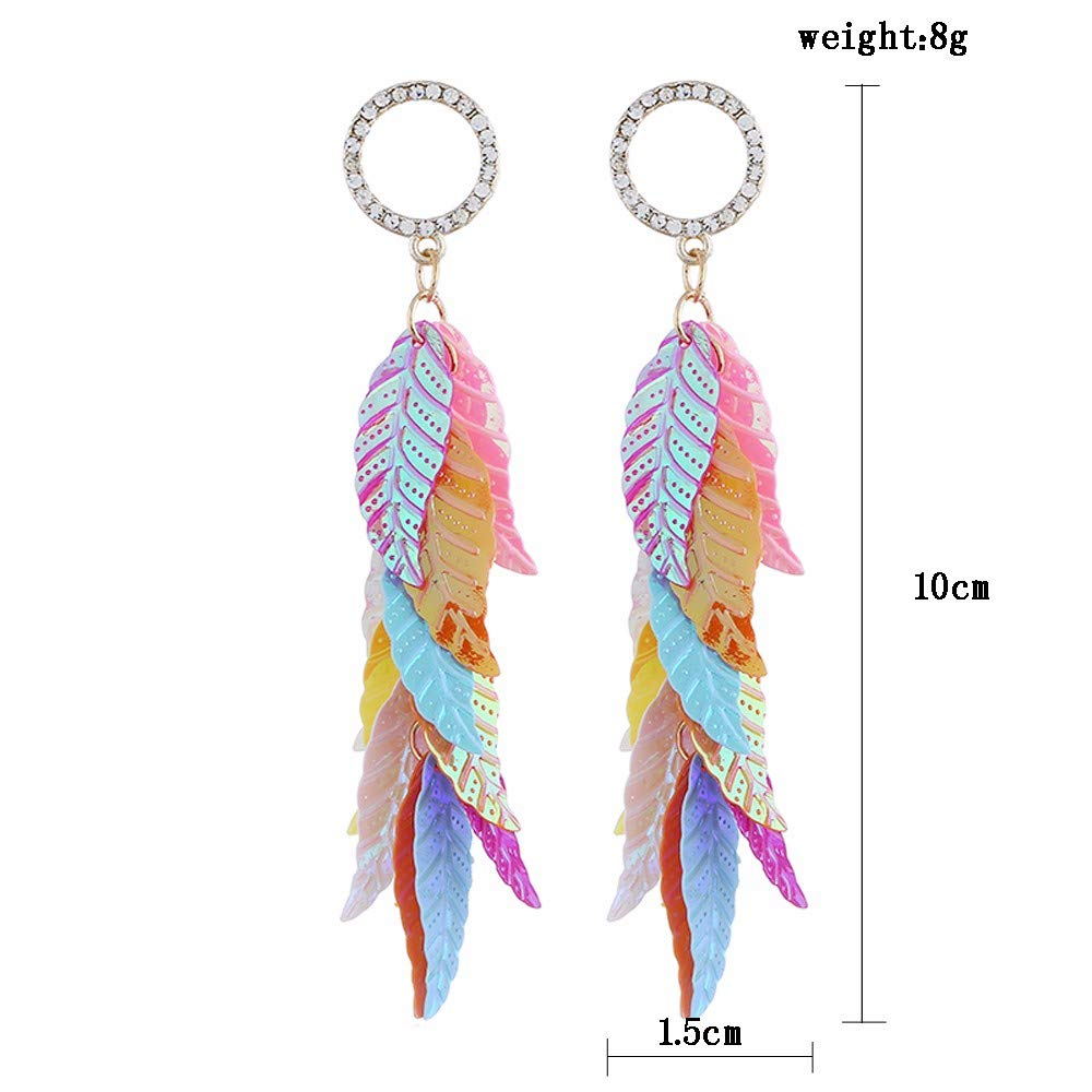 JXVLUYE Charm Earring for Women Girls Colorful Sequins Leaves Earring Great Gifts for Women Girls