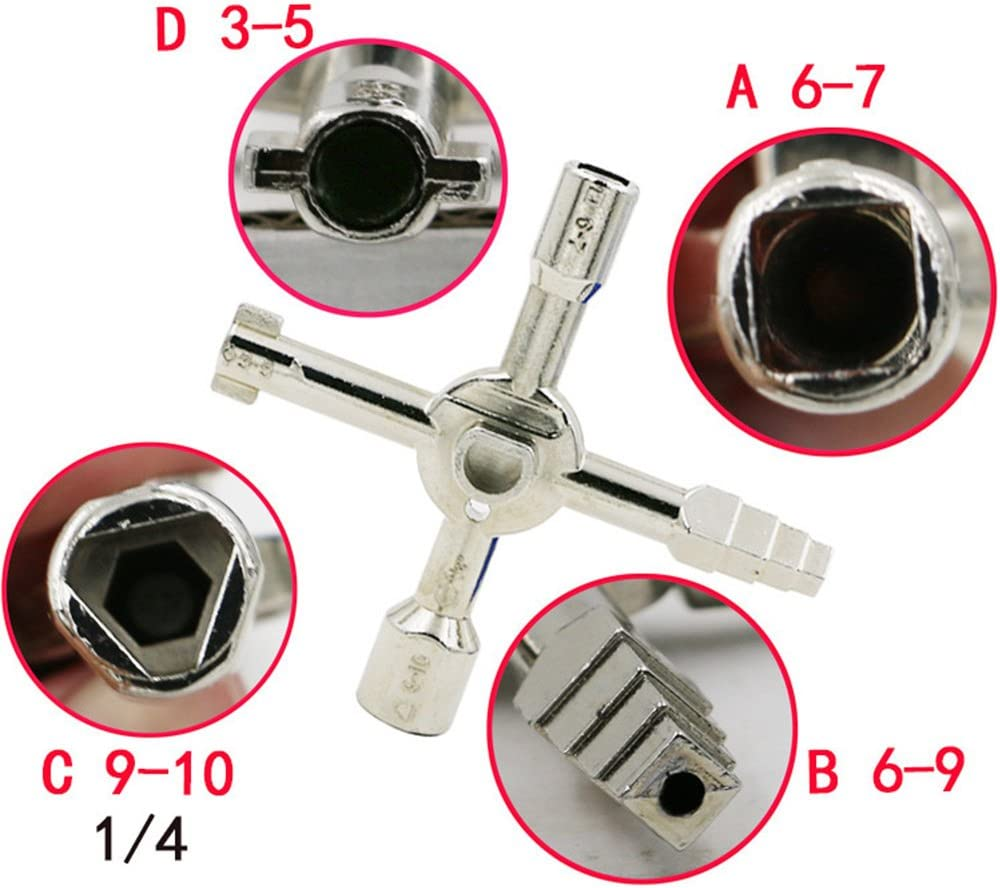 Daycount/® Multi-Model 10 In 1 Universal Cross Key Plumber Keys Triangle For Gas Electric Meter Cabinets Bleed Radiators