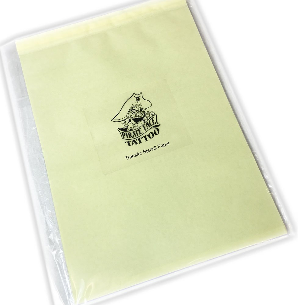 Pirate Face Tattoo 100 Pcs Tattoo Thermal Stencil Transfer Paper 8.5'' X 11'', 100 Count by Pirate Face Tattoo