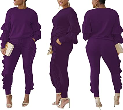 bbd27262208 Amazon.com  Women s Autumn Long Sleeve Slim Fit Two Pieces Outfit ...