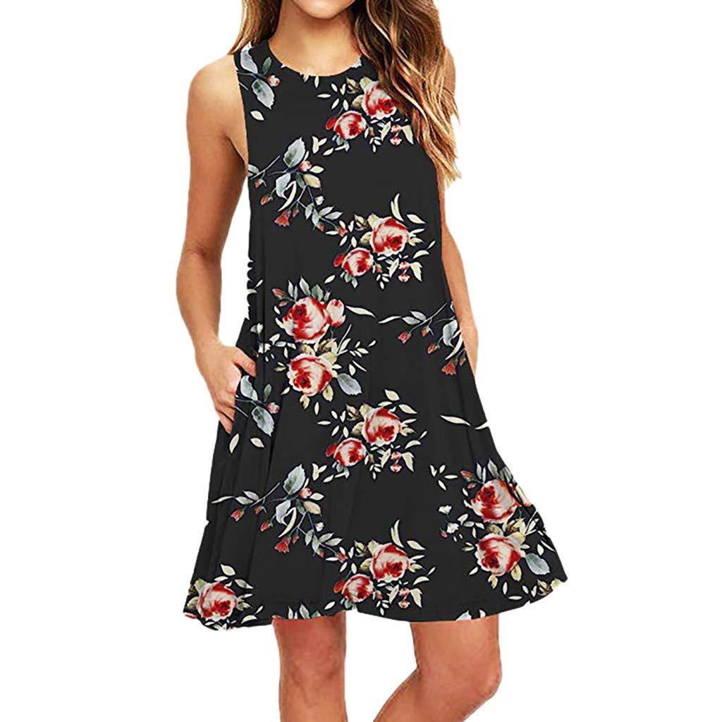 Zaidern Women Dress Women's Summer Casual Sleeveless Printed Swing Mini Dress Sundress with Pocket Black