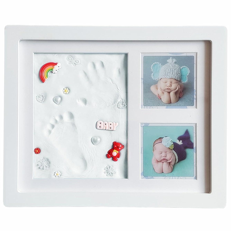 敗北献身見ました手形 赤ちゃん 手形 足形フレームベビー フォト フレーム 12枚写真立て 赤ちゃん手形記念品 ハンドプリント&フットプリントフレームキット 安全な非毒性粘土 木製フレーム 卓上壁掛両用 出産祝いの用品に最適です