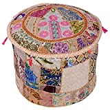 Stylo Culture 22'' Living Room Pouf Cover Indian Ethnic Cotton Patchwork Embroidered Ottoman Stool Pouf Cover Beige Floral Ottoman Case Floor Cushion Cover