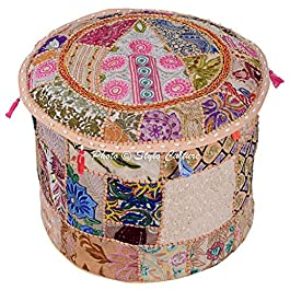 Stylo Culture Round Ethnic Cotton Ottoman Pouf Cover Patchwork Embroidered Floral Pouffe Furniture Stool Indian 45 cm Footstool Floor Cushion Cover Ethnic Decor