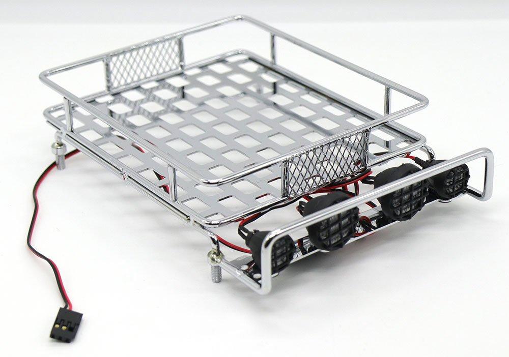 HKSUNKING Black WishRing RC 1:10 Roof Luggage Rack LED Light Bar Wrangler Tamiya CC01 SCX10 Axial 516