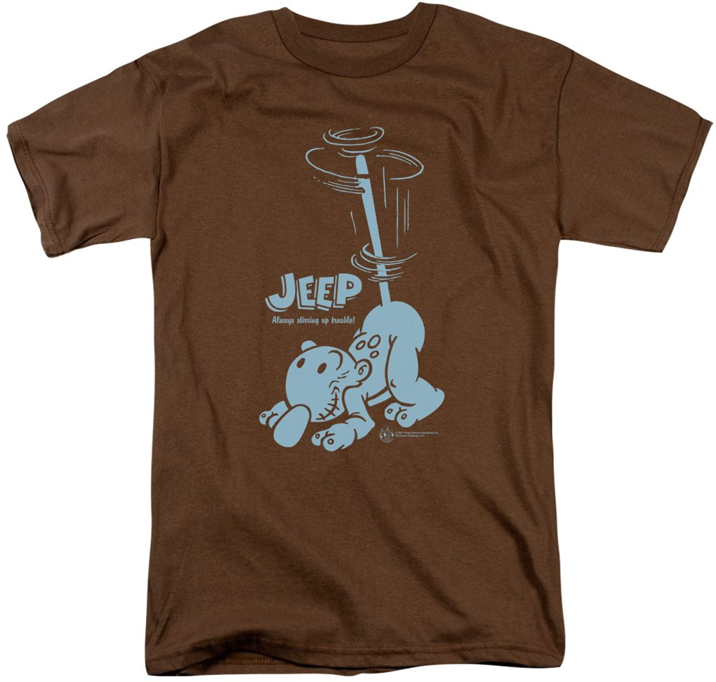 Popeye Trouble Funny Jeep Cartoon Adult Brown T Shirt T