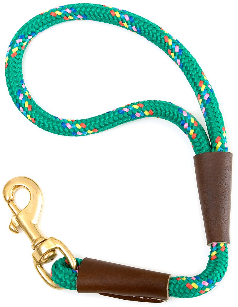 Mendota Dog Products Traffic Lead Short Leash, 1 2 by 16-Inch, Kelly Confetti