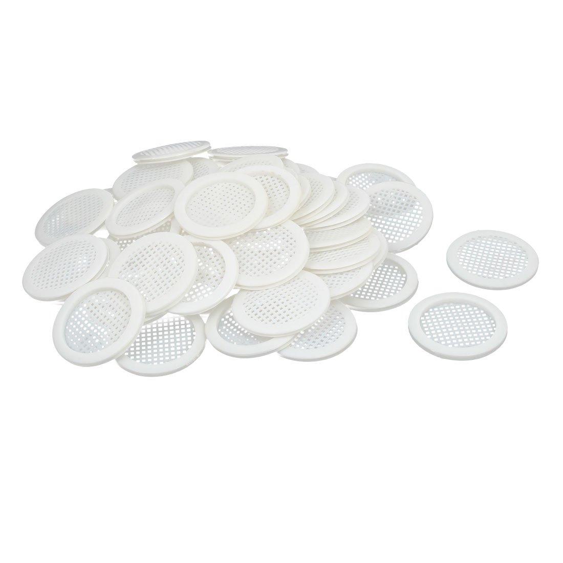 uxcell Shoes Cabinet 67mm Dia Plastic Square Mesh Hole Air Vent Louver Cover White 50pcs