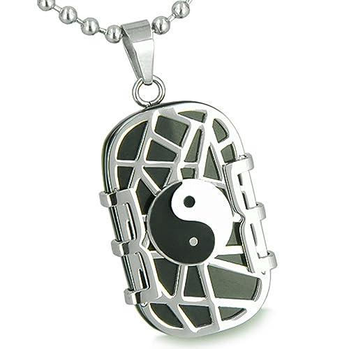Amulet Cosmic Balance Energy Yin Yang Dog Tag Simulated Black Onyx Pendant 18 Inch Necklace