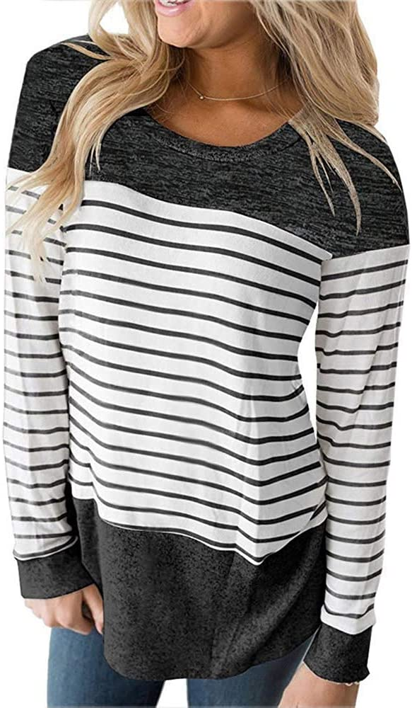 Womens Tops Long Sleeve T Shirt Color Block Striped Shirt Casual Tunic