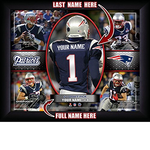New England Patriots Personalized NFL Football Number One Draft Pick Action Autograph Collage Framed Art Print 13x16 Inches