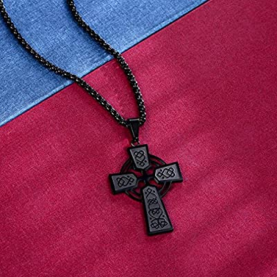 FaithHeart Men Irish Knot Celtic Cross Pendant Necklace,22 Inches Box Chain, Stainless Steel Christian Jewelry (3 Colors)