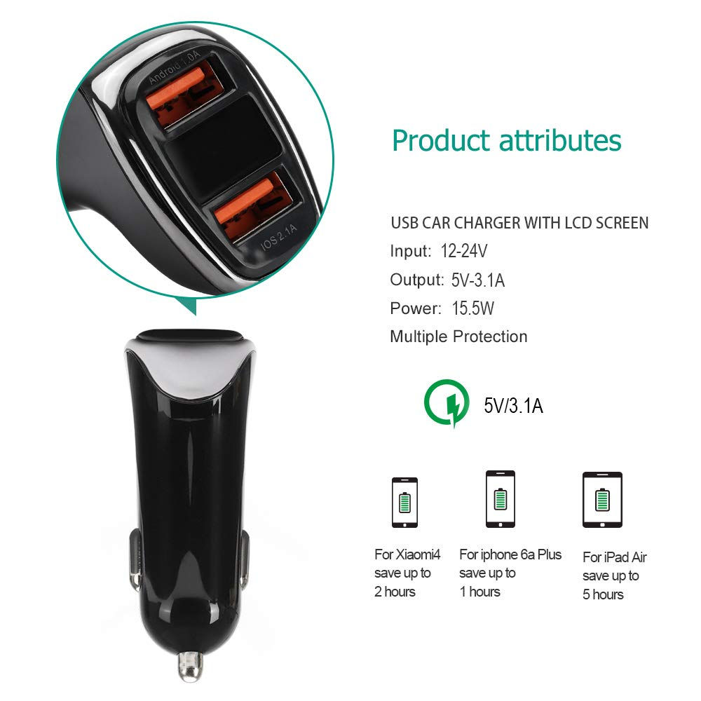 ARLTTH Car Charger with 3 in 1 USB Cable 5V//3.1A Rapid Car Charger Compatible for iPhone 11//11 Pro//11 Pro Max//Xs//Xs Samsung Galaxy S10 S9 S8 Plus Note 10 9 8 S7