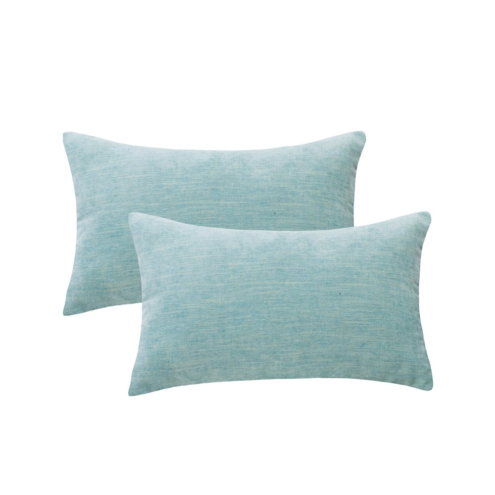 HWY 50 Couch Throw Pillows Covers 12 x 20 inch, Pack of 2 Soft Comfortable Natural Cotton And Linen Decorative Light Blue Throw Pillows Cases For Sofa Bed, Euro Decor Cushion Covers