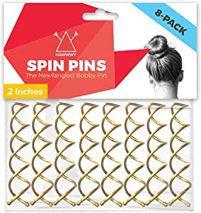 Hawwwy Spiral Bobby Pins 8 Pack Spin Pins, Easy & Fast Bun Maker Twist Hair Pins for Women Kids, Updo Hair Accessories, Messy Bun Tool, Perfect Small Bun Bobbypins Bobbie Fashion (Gold 2 Inches)