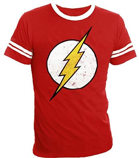2433cfc6 The Flash Distressed Logo With Striped Sleeves Red Adult T-shirt Tee (Adult  XXX