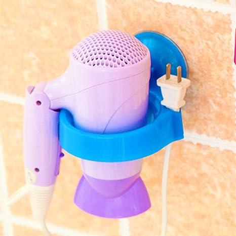 Amazon.com: eDealMax doméstico Aseo ventosa del Pelo del soplo Secadora Secador del estante del sostenedor Azul: Health & Personal Care