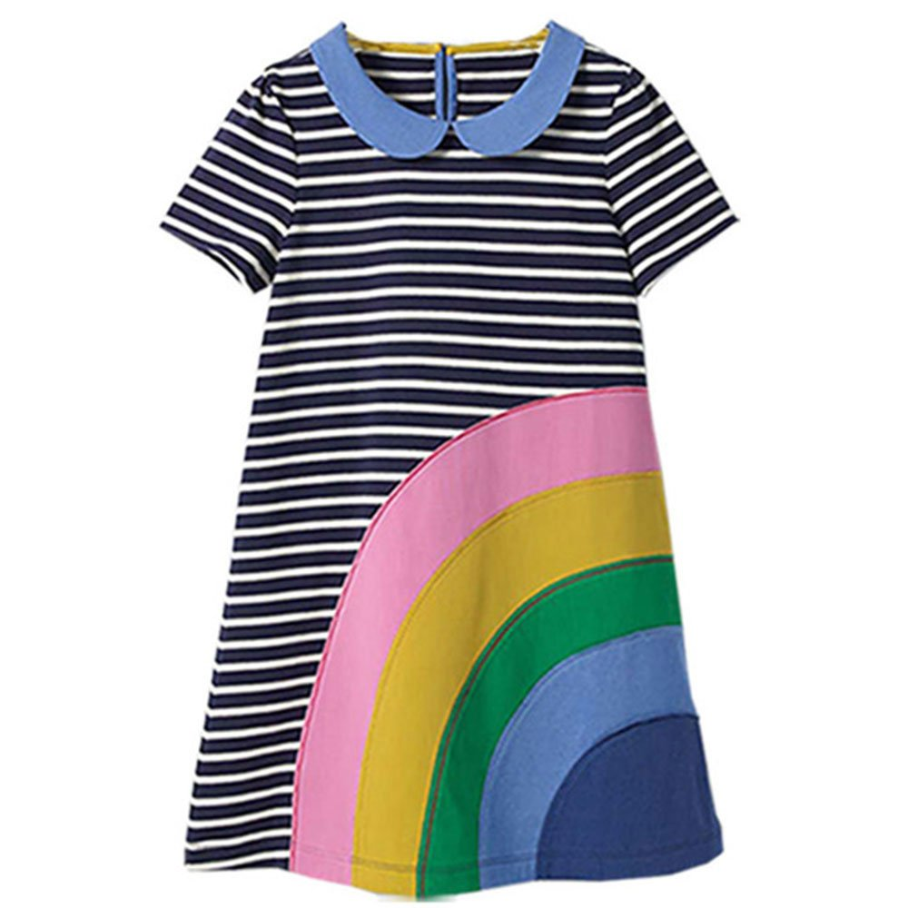 Girls Dresses Cartoon Print Cotton Summer Tunic Dress Short Sleeve (18M, Rainbow-1)