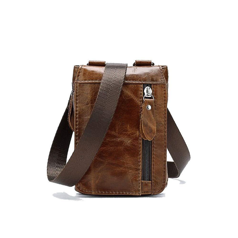 HENGMANHONG Mens small bag top layer leather retro pockets shoulder messenger bag