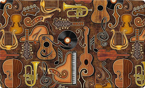 Toland Home Garden Joyful Noise 18 x 30 Inch Decorative Music Floor Mat Instrument Collage Doormat - 800193