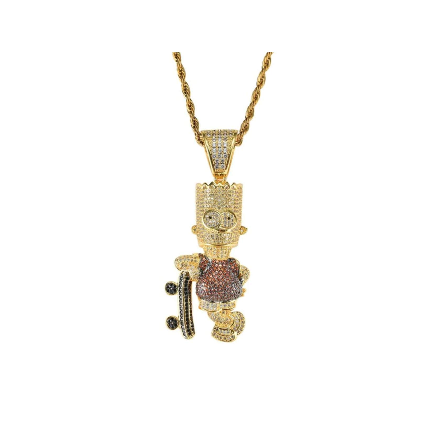 ICE BOX Bart Simpson Cubic Zirconium Diamond Gold Head Bart Simpson Skateboard Chain