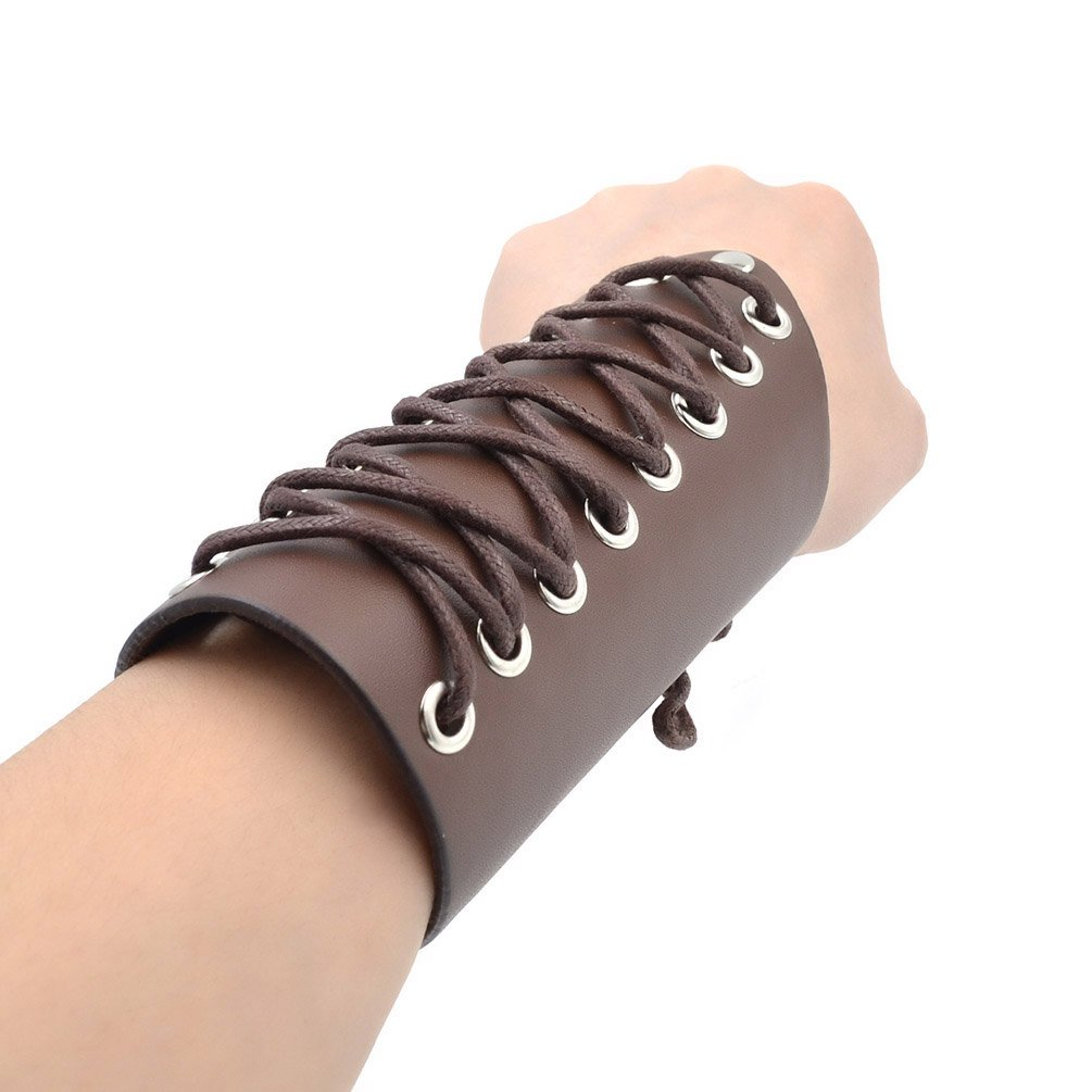 Towashine Faux Leather Laces Wristband Arm Guards Armor Cuff Gauntlet Wrist Band Medieval Bracers