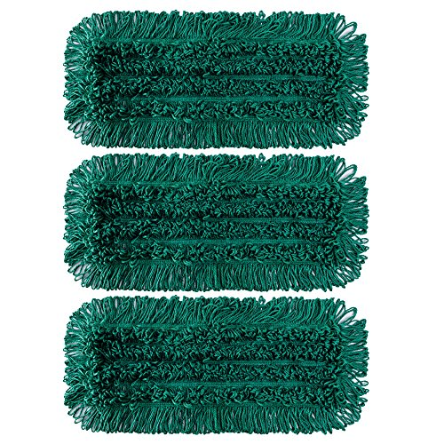 "TEBEST Mop Floor Cleaning Green Slot Pocket Dust Mop Spun Loop Microfiber Dry Dust Mop With Slot Pocket Backing-3 Pack (18"", Green)"